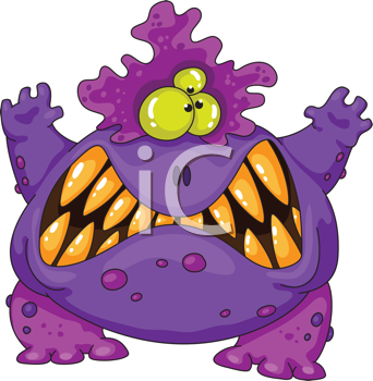 Royalty Free Clipart Image of a Purple Monster