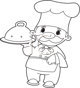 Royalty Free Clipart Image of a Cook Carrying a Domed Tray