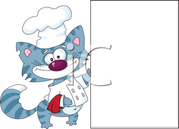 illustration of a cat the cook with blank