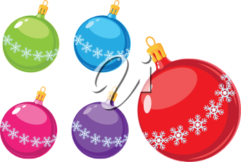 illustration of a Christmas balls with snowflakes