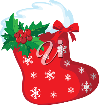 illustration of a Christmas stocking snow and holly