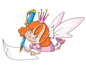 illustration of a fairy and blue pen