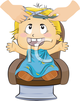 Royalty Free Clipart Image of a Little Boy Getting a Haircut