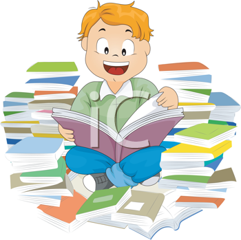 Royalty Free Clipart Image of a Child Reading