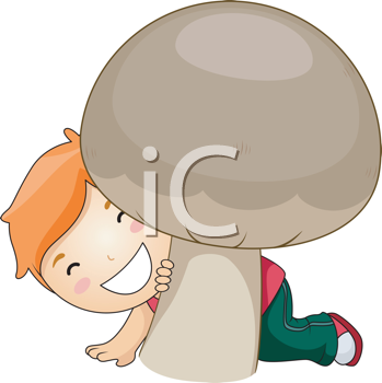 Royalty Free Clipart Image of a Boy Behind a Huge Mushroom