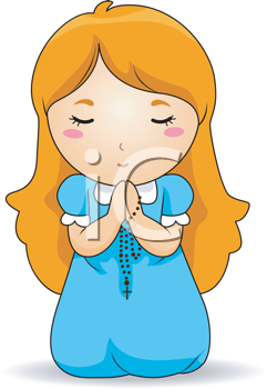 Royalty Free Clipart Image of a Girl Praying With a Rosary