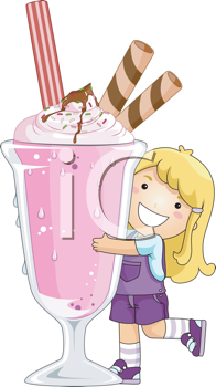 Royalty Free Clipart Image of a Girl With a Big Ice Cream Soda