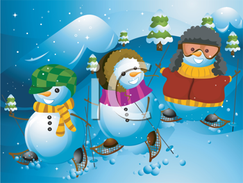Royalty Free Clipart Image of Snowmen on Snowshoes