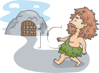 Royalty Free Clipart Image of a Caveman Walking to a Cave