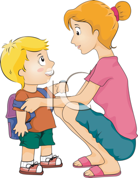 Royalty Free Clipart Image of a Mother Helping Her Son Get Ready For School