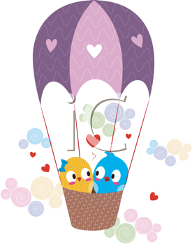 Royalty Free Clipart Image of Lovebirds in a Hot Air Balloon