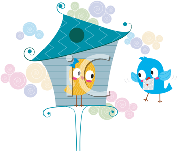 Royalty Free Clipart Image of a Lovebird Delivering a Letter