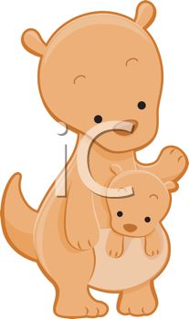 Royalty Free Clipart Image of a Kangaroo With a Joey