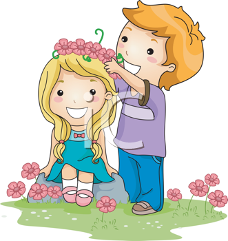 Royalty Free Clipart Image of a Boy Putting a Flower Crown on a Girl's Head