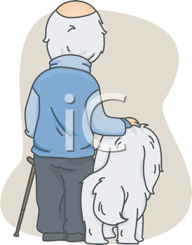 Royalty Free Clipart Image of an Old Man and His Dog From the Back