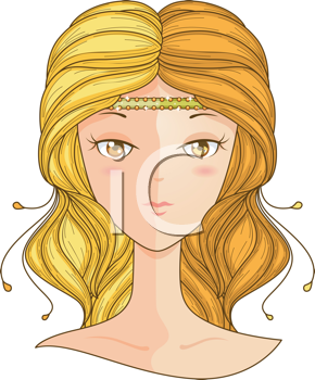 Royalty Free Clipart Image of a Girl With Different Coloured Hair on Each Side of Her Head