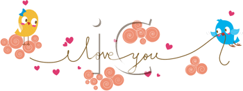 Royalty Free Clipart Image of a Bluebird With an I Love You String