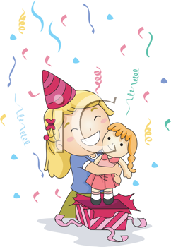 Royalty Free Clipart Image of a Little Girl Opening a Gift and Hugging the Doll