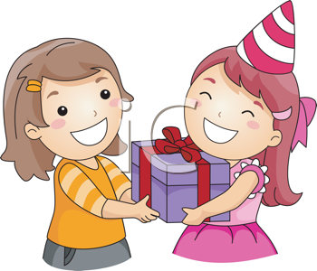 Royalty Free Clipart Image of a Girl Giving a Present to Another Girl