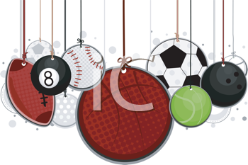 Royalty Free Clipart Image of Sports Balls on Strings