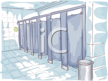 Royalty Free Clipart Image of a Public Washroom