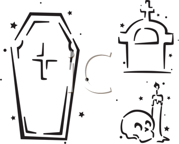 Royalty Free Clipart Image of a Casket, Tombstone, Candle and Skull