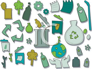 Royalty Free Clipart Image of Recycle Icons