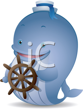 Royalty Free Clipart Image of a Whale at Ship's Helm