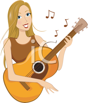 Royalty Free Clipart Image of a Girl Playing Guitar
