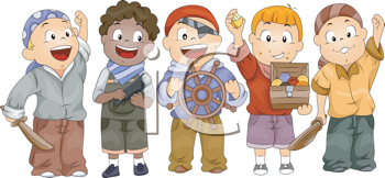 Royalty Free Clipart Image of Kids in Pirate Costume