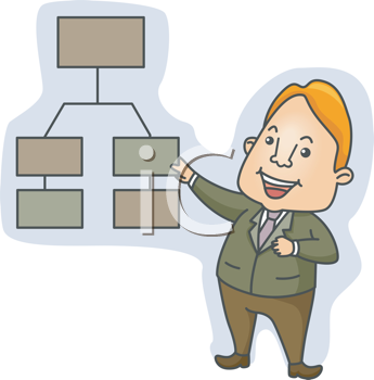 Royalty Free Clipart Image of a Man Pointing to a Chart