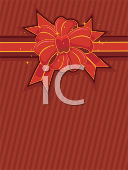 Royalty Free Clipart Image of a Red and Gold Ribbon on Red