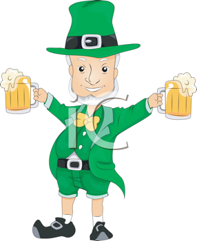 Royalty Free Clipart Image of a Leprechaun With Beer