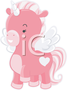 Royalty Free Clipart Image of a Pink Unicorn
