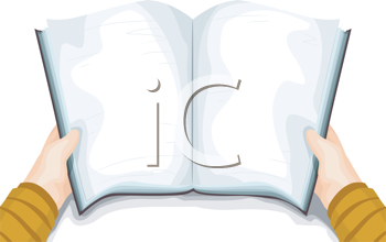 Royalty Free Clipart Image of a Blank Book Held Open by a Pair of Hands
