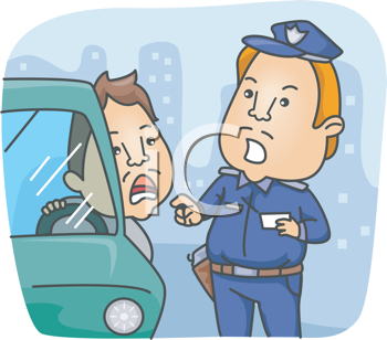 Royalty Free Clipart Image of a Policeman Talking to a Driver