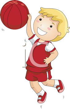 Royalty Free Clipart Image of a Little Boy Playing Basketball