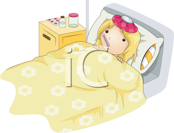 Royalty Free Clipart Image of a Sick Girl in Her Bed