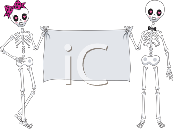 Royalty Free Clipart Image of a Skeleton Boy and Girl Holding a Banner