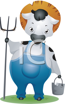 Royalty Free Clipart Image of a Cow Farmer