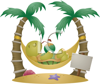 Royalty Free Clipart Image of a Turtle on a Hammock
