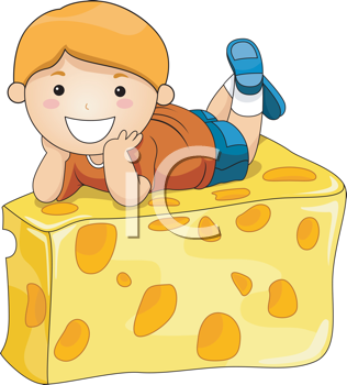 Royalty Free Clipart Image of a Boy on a Big Wedge of Cheese