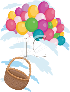 Royalty Free Clipart Image of a Basket Carried Away by Balloons