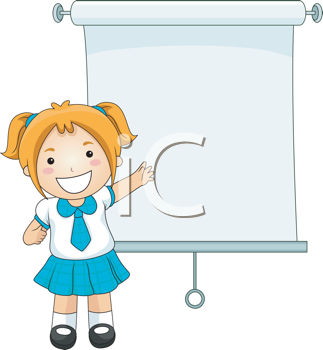 Royalty Free Clipart Image of a Girl Making a Presentation