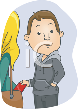 Royalty Free Clipart Image of a Man Picking a Woman's Purse