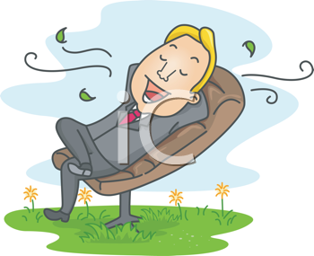 Royalty Free Clipart Image of a Man Relaxing Outside