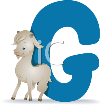 Royalty Free Clipart Image of the Letter G and a Goat