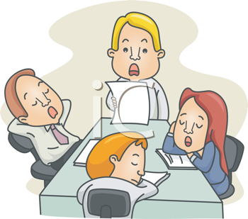 Royalty Free Clipart Image of People Dozing in a Meeting