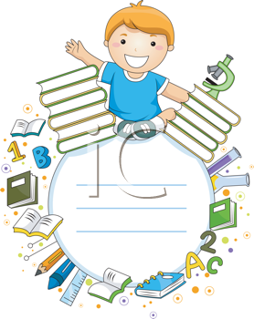 Royalty Free Clipart Image of a Boy With Educational Items