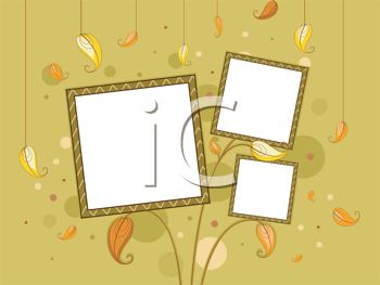 Royalty Free Clipart Image of Frames on an Autumn-Themed Background